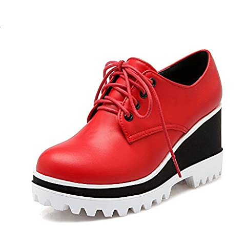 balamasa filles massif Round-Toe imitation cuir pumps-shoes - Rouge - rouge, 38