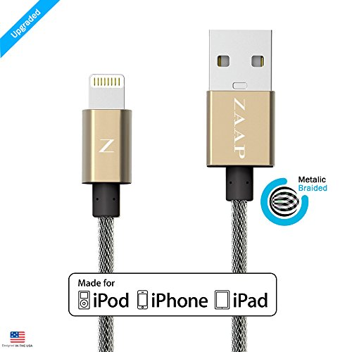 ZAAP UNBREAKABLE LIGHTNING CABLE/CHARGER CORD FOR CHARGING , SYNC. COMPATIBLE WITH IPHONE, IPOD AND IPAD. 3 Feet / 1 Meter long