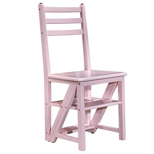 Katxay Madera Multifuncional Convertible Plegable Cocina Hogar Escalera Silla Cuatro Escalera Taburete (Color : Pink)