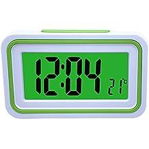 Reloj Despertador Parlante en Español, Alarma LCD con voz, Reloj Hablando (Blanco y
