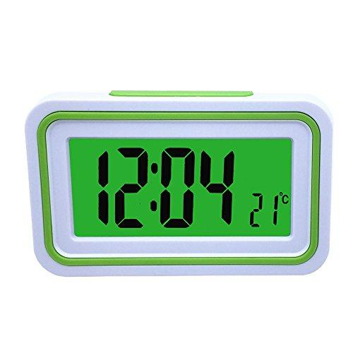 Reloj Despertador Parlante en Español, Alarma LCD con Voz, Reloj Hablando Blanco y Verde