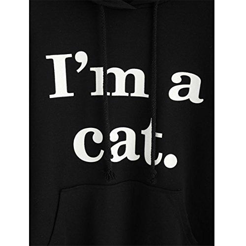 KAKING Femmes Casual à manches longues Cute Cat Hoodie Je suis un chat Imprimer Pull Tops Blouse Noir