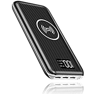 KEDRON Express E1 Power Bank 24000mAh Caricabatterie Portatile Caricatore Wireless con Display LCD Digitale e 3 Porte USB & 2 Porte di Entrata Batteria per Telefono Android e Altri dispositivi USB