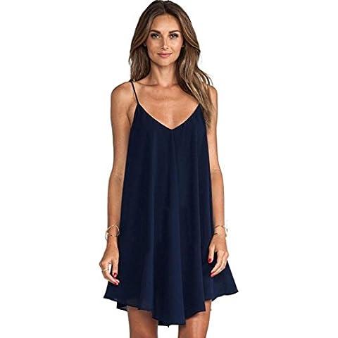 Malloom Mujer sin mangas escotado por detrás gasa Casual corto Mini vestido de fiesta azul (azul,