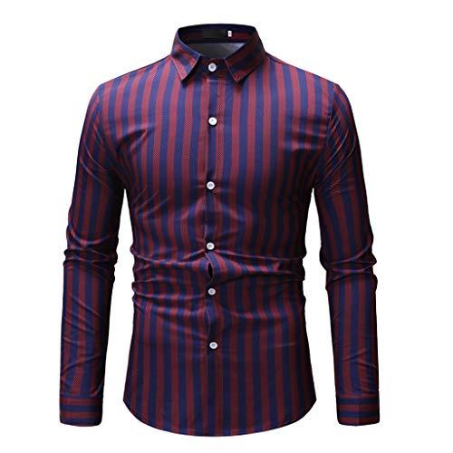 Preisvergleich Produktbild POIUDE Herren-Hemd Slim-Fit Langarm-Hemden Lange Ärmel Winter Warm Bleiben Bedrucktes Hemd(rot