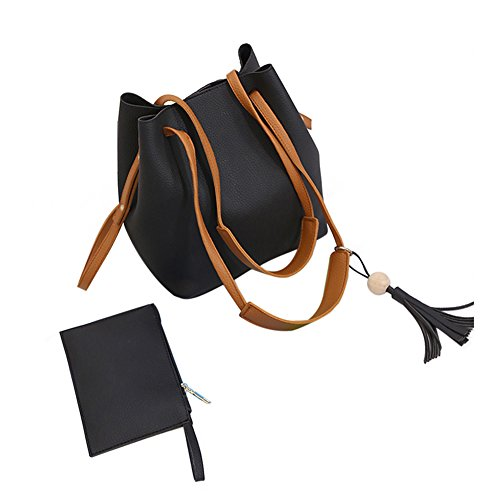 Rrimin 2pcs Women Tassel Drawstring Bucket Bag Tote Bag Shoulder Handbags PU Leather Clutches (Black)