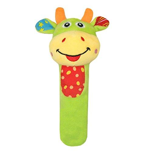 Happy Cherry - Juguete Sonajero Musical Felpa Peluche con Sonidos Bibi Palillo Rattle Animal Campana para Bebés 0-3 años Niños niñas - Vaca