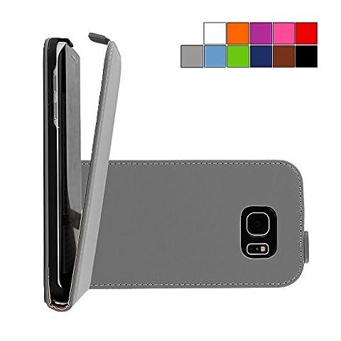 COOVY® SLIM FLIP Cover Case Coque Housse Étui de prougeection fin à clapet pour Samsung Galaxy S6 EDGE SM-G925F SM-G925 avec film de prougeection d'écran Couleur gris