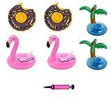 7 Stück Aufblasbarer Getränkehalter Sommer-Wasser-Spielzeug-Getränk Float Floats mit Flamingo...
