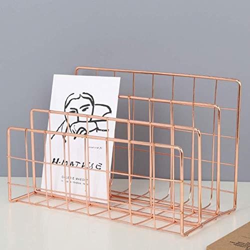 AFDK Organizzatore di posta in metallo da scrivania 3 scomparti Tavolo da ufficio verticale con fascicolatore File di mesh di supporto per documenti/classifica/carta/cartelle, oro,Rosa