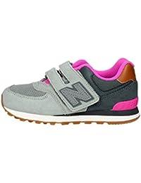 NEW BALANCE KG574 NHY gris rosado de la muchacha rasgan las zapatillas de deporte
