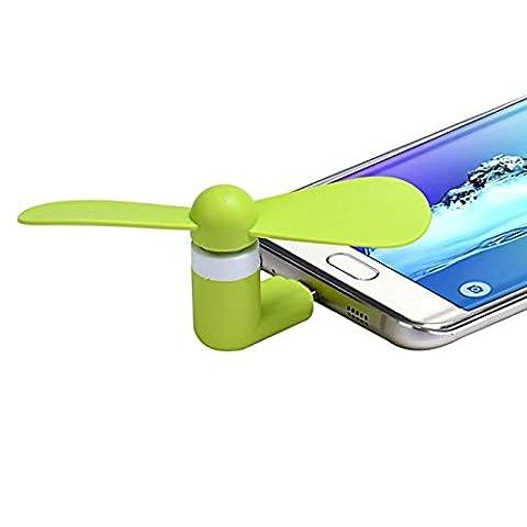 Micro USB Ventilator, FNKDOR Mini 5Pin Leise Lüfter, Für Android Phone/ Akku mit Micro usb (Typ-C brauchen Adapter) (Grün)