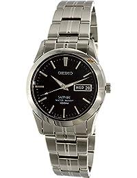 SeikoSGG715P1Unisex Armbanduhr,Quarz, analog, schwarzes Zifferblatt,graues Stahl-Uhrband