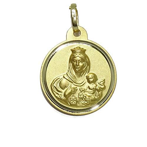 Never Say Never Precioso escapulario de 20mm de Oro Amarillo de 18kts con la Virgen del Carmen y el Sagrado Corazón de Jesús Mate y Brillo. Peso; 2.20gr de Oro de 1ª Ley
