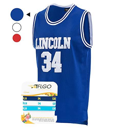 aflgo Jesus SHUTTLESWORTH 34Lincoln High School Basketball Jersey enthalten Set Armbänder S-XXL, blau (Basketball-jersey-high-school)