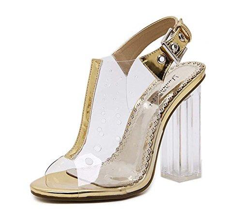 L&Y Donna pompe a punta aperta Slingback Summer Cucitura di cristallo Sandali con tacco alto Banquet Shoes Gold Silver Oro