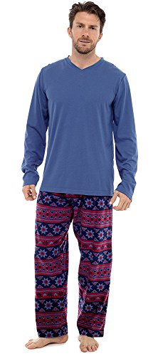Mens Warm Jersey Oberteil & Vlies-böden Pyjama nachtwäsche pajama lounge wear Blau