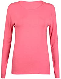 New Ladies Plain Stretch Fit Long Sleeve Womens T-Shirt Round Neck Basic Top Coral Size 12 - 14