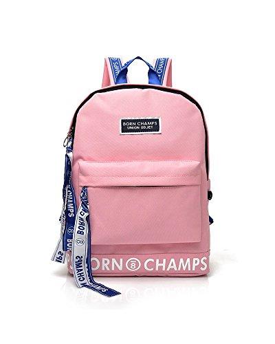 Damen Laptop-brief (Unisex Nylon Schultasche Wasserdicht Wandern Rucksack Cool Sports Rucksack Laptoptasche (Rosa))