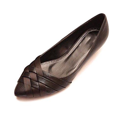 OCHENTA Ballerines Femme En PU Casual Basique A Enfiler Plat Chaussure Fille #2 Noir