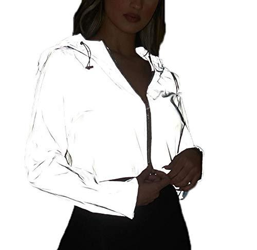 Kewing Sudadera Casual con Cremallera para Mujer, Blusas Reflectantes para Fiesta, Discoteca