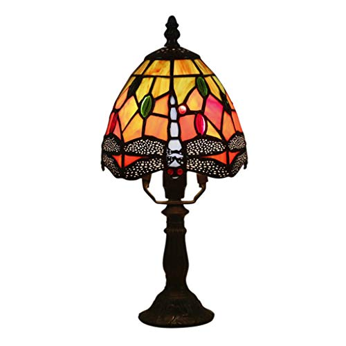 MRXUE Table Lamp Vintage Tiffany Style Bedside Desk Light Stained Glass Dragonfly Pattern Night Lights for Bedroom Restaurant Decorative Lighting (6 Zoll) -