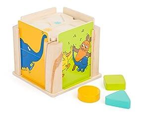 small foot design 10818 Die Maus - Cubo de Madera con Cuatro Paneles de Colores del Elefante del ratón, para Deslizamiento y Enchufe, enseña a Jugador Las Habilidades motoras Finas y Coordina