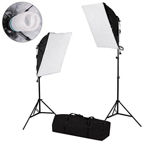2-er-Set Fotostudio Beleuchtung Leuchte Lampe Lichtstativ Softbox 50 x 70 cm inkl. Leuchtmittel 55 W und Tragetasche