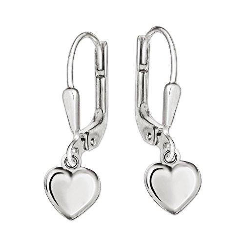 Clever Schmuck Silberne Mädchen Ohrringe als Ohrhänger 21 mm lang mit Mini Herz 5 mm beidseitig plastisch gewölbt und glänzend STERLING SILBER 925