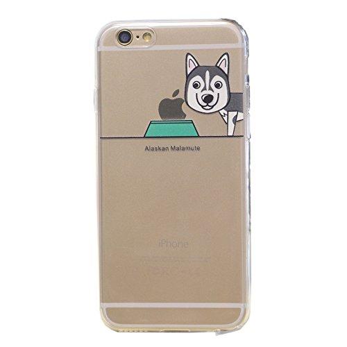 iPhone 6 / 6S Hülle, Keyihan Niedlich Haustier Hunde und Seine Näpfe Muster Dünn Durchsichtige Weiche Silikon TPU Handy Schutzhülle Case Bumper für iPhone 6 / iPhone 6S (Alaskan Malamute) (Alaskan Malamute Hund Macht)
