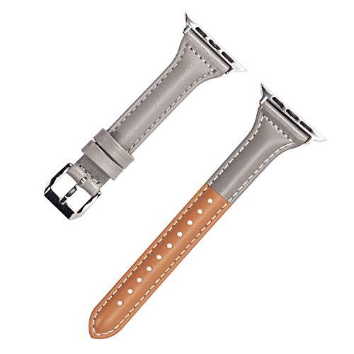Wearlizer für Apple Watch 38mm Armband Leder, Echtleder Mischfarbe Band für iWatch Straps Ersatz Lederarmband 38mm 40mm für Apple Watch Series 4 3 2 1 - Grauer Kaffee