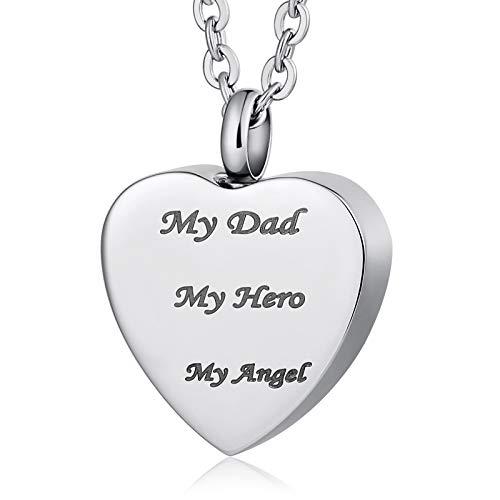 Beglie Asche Schmuck Anhänger Edelstahl Memorial Asche Halskette Kette Mädchen Herz mit Gravur My Dad My Hero My Angle Anhäner Silber -