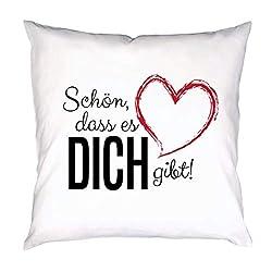 PHRASE 1 by FotoPremio Kissen mit Spruch   Schön, DASS es Dich gibt!   Deko-Kissen mit Motiv inkl. Füllung   40 x 40 cm   Geschenkidee für den Liebsten oder die Liebste