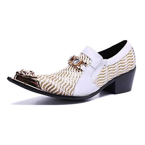 QZX Shoes Herren Lederschuhe Hochzeitsschuhe Cowboy Oxford Halbschuhe Loafers Männer Hochzeit Schuhe Metall Toe Weiß Schlüpfen Kleid Abend Größe 37-46,White,EU46/UK12 -