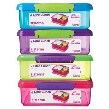 Sistema Medium Plastic Kids School Sandwich Lunch Box Food Storage Pack Of  3 Assorted Colour