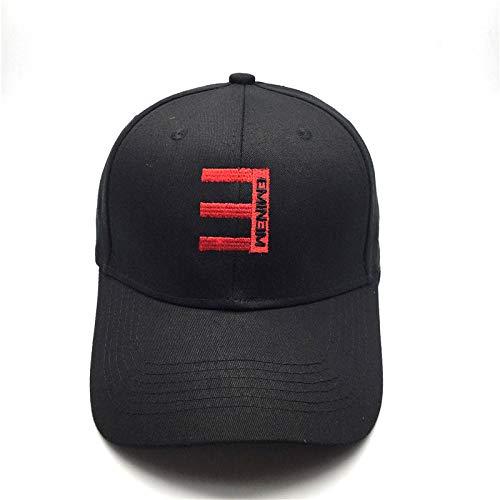 WEY Caps Für Männer Frau, Rapper Eminem Stickerei Baseball Cap Sonnenhut, Einstellbare Freizeit Sport Hut,Schwarz,Einstellbar