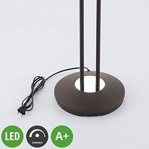 LINDBY LED Stehlampe \'Dimitra\' dimmbar in Braun aus Metall u.a. für Wohnzimmer & Esszimmer (A+, inkl. Leuchtmittel) - Wohnzimmerlampe, Stehleuchte, Floor Lamp, Deckenfluter, Standleuchte