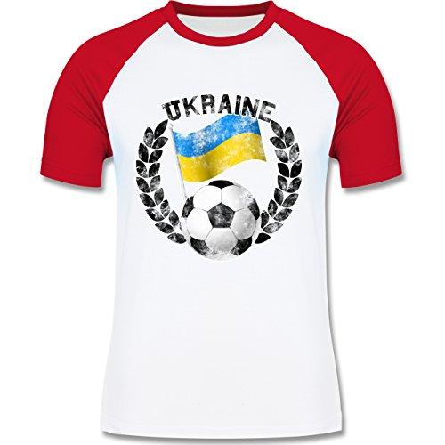 EM 2016 - Frankreich - Ukraine Flagge & Fußball Vintage - zweifarbiges Baseballshirt für Männer Weiß/Rot