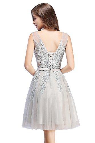 Mädchen Elegant A-Linie Ärmellos Spitzenkleid Abendkleid Applique Tüll festlich rückenfrei Kurz Grau 32