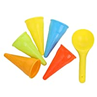 XNX Kids beach toys,sand toys set for kids,9pcs Small Cake Mould Spoon Ice Cream Pudding Beach Play Sand (6pcs)