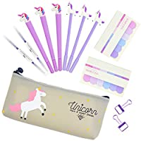 Unicorn Pencil Case Cute Stationery Set for Teen Girls,Unicorn Gel Pens Ballpoint Pen Stationary Kits Gifts for Friends Student School Office Supplies (purple 13 pcs)