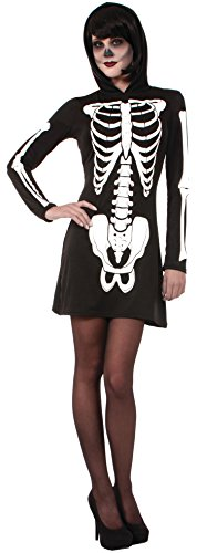 m Novelties ac619 Skelett Kapuzen Mini Kleid (UK Größe 10–14) (Spooky Make Up Ideen)