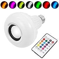 LEDMOMO Bombilla LED con altavoz integrado Bluetooth, lámpara cambiante RGB Audio estéreo inalámbrico con control remoto