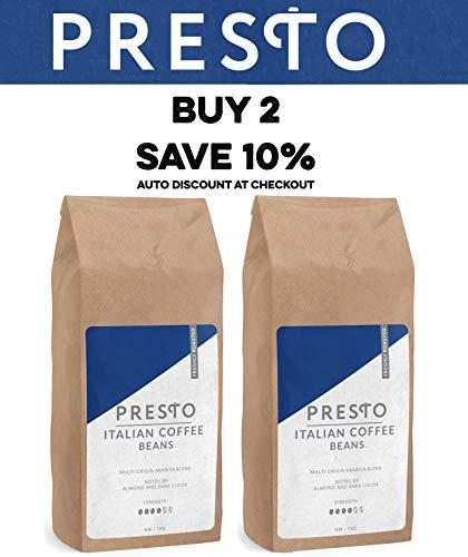 Presto Coffee Beans - Espresso Coffee - Medium Roast 1Kg Whole Bean Coffee  - Coffee Machine - Aeropress - Filter and Ground Coffee
