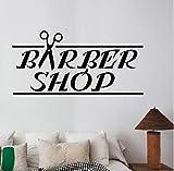Xbwy Barbershop Logo Wall Decal Vinyl Wall Sticker Window Art Mural Hair Beauty Salon Decoration Hairdresser Style Wall Decal 57X28Cm