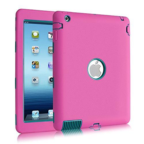 Case, iPad 2, uzer (Heavy Duty stoßfest Anti-Rutsch Silikon High Impact Resistant Hybrid Drei Schicht Hard PC + Silikon Armor Schutzhülle für iPad 2/3/4, Rose+Teal ()