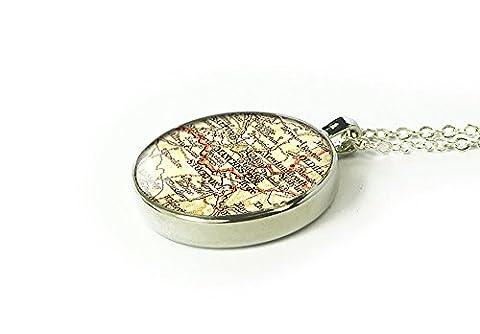 Handmade 1902 Manchester map necklace - custom back engraved - gift for girlfriend