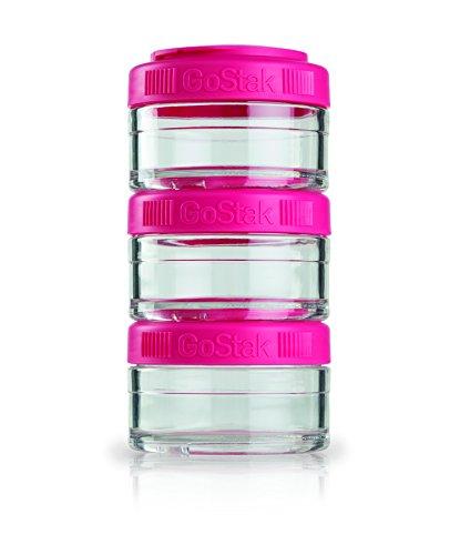 BlenderBottle GoStak Container zum Aufbewahren von Protein| Eiweiß| Pulver| Vitaminen & mehr- 3Pak 60ml pink (3x60ml)