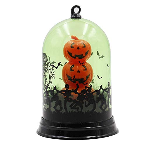Halloween Requisiten, TIREOW Halloween Hexe Kopf Laterne LED Kürbis Lampe Kids Retro Deko Tisch Aufhängen leuchtet Dunkeln Batteriebetrieb für Karneval Party Dekoration (B)