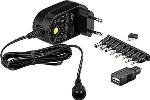 Goobay 59036 - Fuente de alimentación universal 300 mAh y 8 enchufes adaptadores más USB, Negro